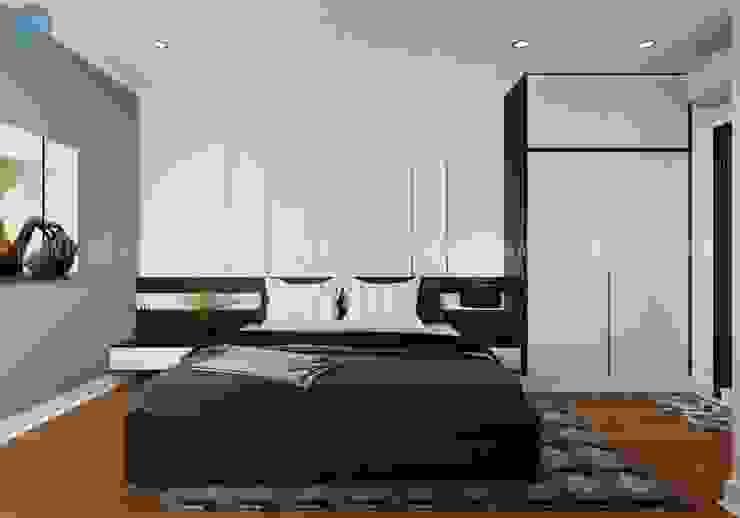 Phòng ngủ master với tủ đồ màu trắng bằng gỗ ép hiện đại Công ty TNHH Nội Thất Mạnh Hệ Phòng ngủ phong cách hiện đại Wood effect