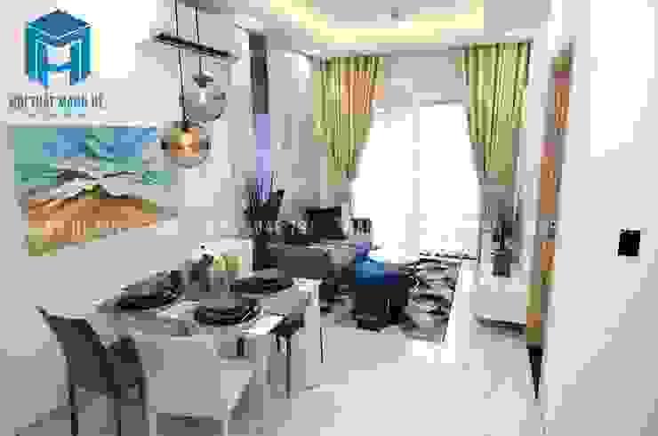 Không gian phòng khách và bộ bàn ăn bởi Công ty TNHH Nội Thất Mạnh Hệ Hiện đại