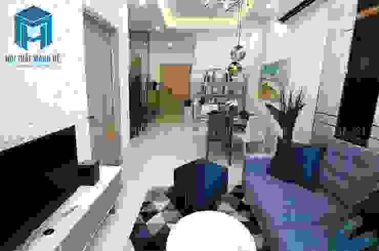 Thiết kế nội thất phòng khách liền kề phòng bếp bởi Công ty TNHH Nội Thất Mạnh Hệ Hiện đại