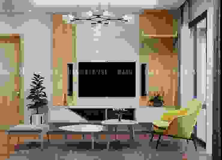 Nội thất phòng khách đầy đủ tiện nghi bởi Công ty TNHH Nội Thất Mạnh Hệ Hiện đại