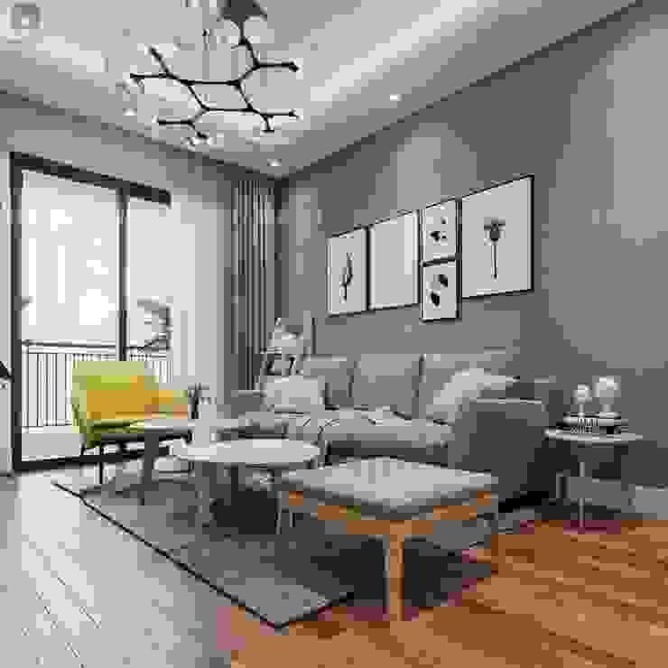 Phòng khách được trang trí bởi gam màu chủ đạo là xám khá tinh tế và hiện đại bởi Công ty TNHH Nội Thất Mạnh Hệ Hiện đại