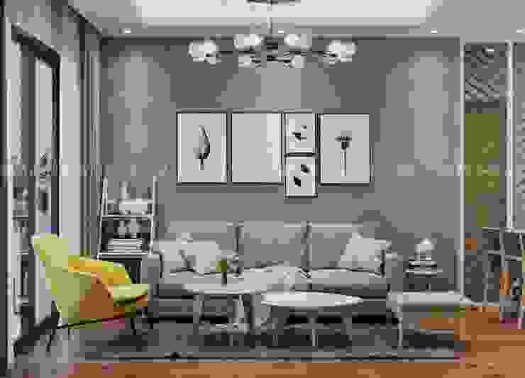 Bộ bàn ghế sofa nệm hình chữ I chân gỗ màu xám bởi Công ty TNHH Nội Thất Mạnh Hệ Hiện đại