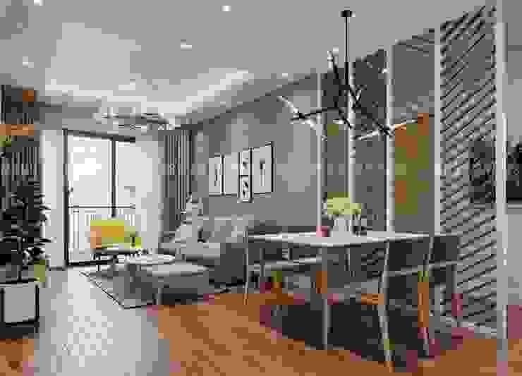 Nội thất phòng khách liền kề với phòng ăn bởi Công ty TNHH Nội Thất Mạnh Hệ Hiện đại