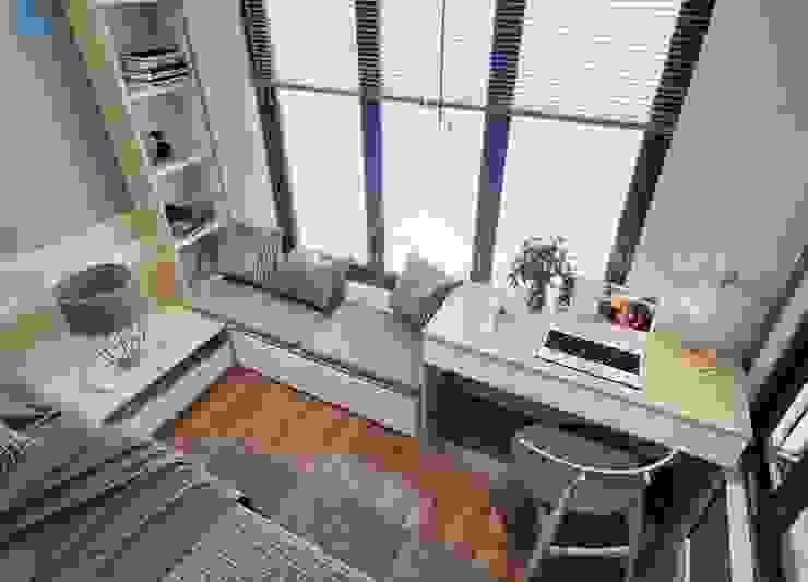Chỗ ngồi đọc sách được thiết kế ngay cạnh cửa sổ Phòng ngủ phong cách hiện đại bởi Công ty TNHH Nội Thất Mạnh Hệ Hiện đại