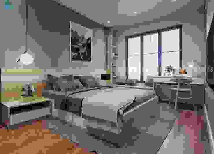 Nội thất phòng ngủ được thiết kế cửa sổ ba cánh có mành che mỏng Phòng ngủ phong cách hiện đại bởi Công ty TNHH Nội Thất Mạnh Hệ Hiện đại