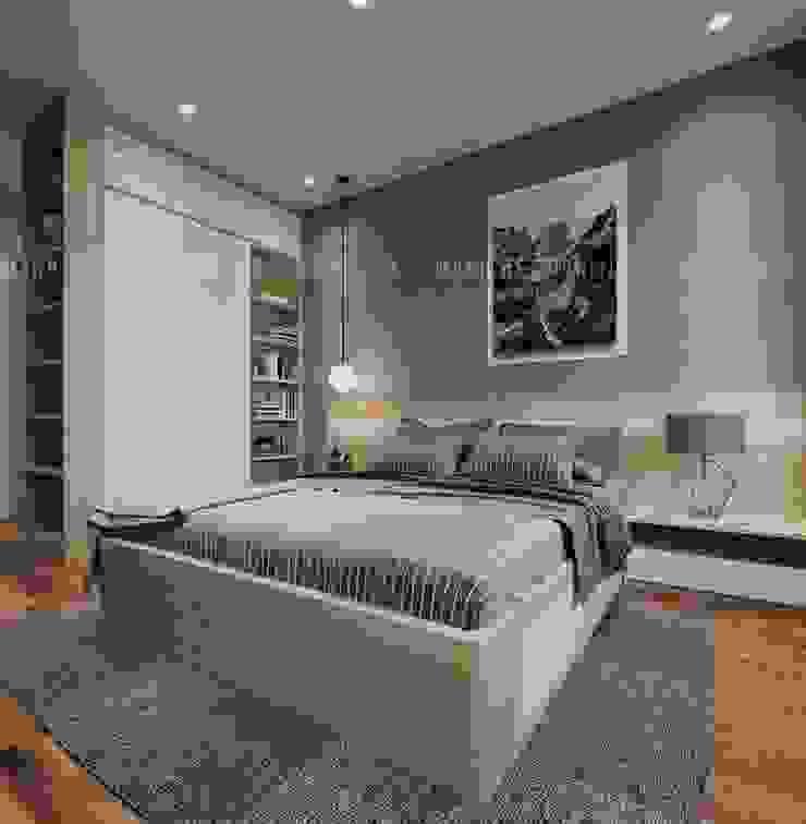 Phòng ngủ có thêm thảm trải sàn bằng lông màu sàn đặt dưới chân giường Phòng ngủ phong cách hiện đại bởi Công ty TNHH Nội Thất Mạnh Hệ Hiện đại