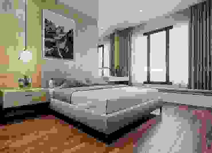 Phòng ngủ nhỏ được thiết kế đơn giản hơn khi không có thêm thảm trải sàn bởi Công ty TNHH Nội Thất Mạnh Hệ Hiện đại