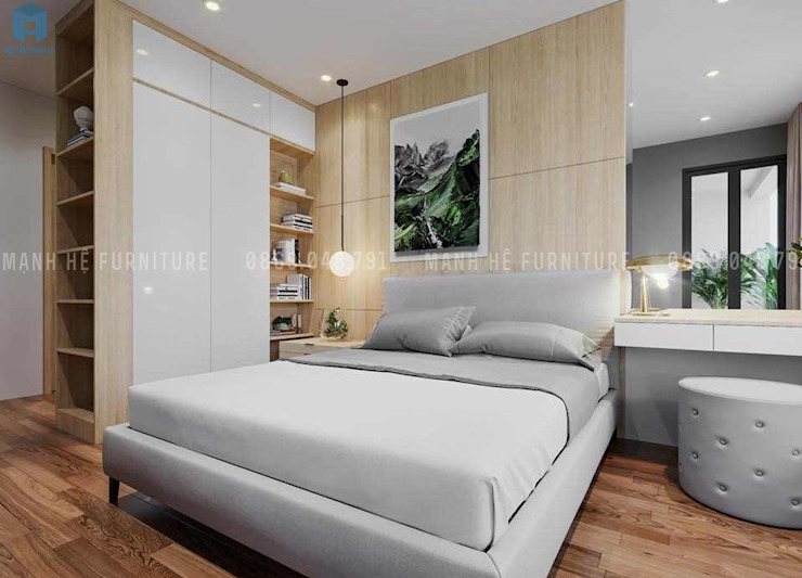 Vách tường đầu giường được ốp gỗ tạo nên một cảm giác thoải mái và ấm cúng cho gia chủ bởi Công ty TNHH Nội Thất Mạnh Hệ Hiện đại