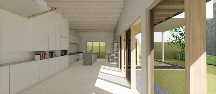 Salon moderne par 건축사사무소 모뉴멘타 Moderne Bois Effet bois