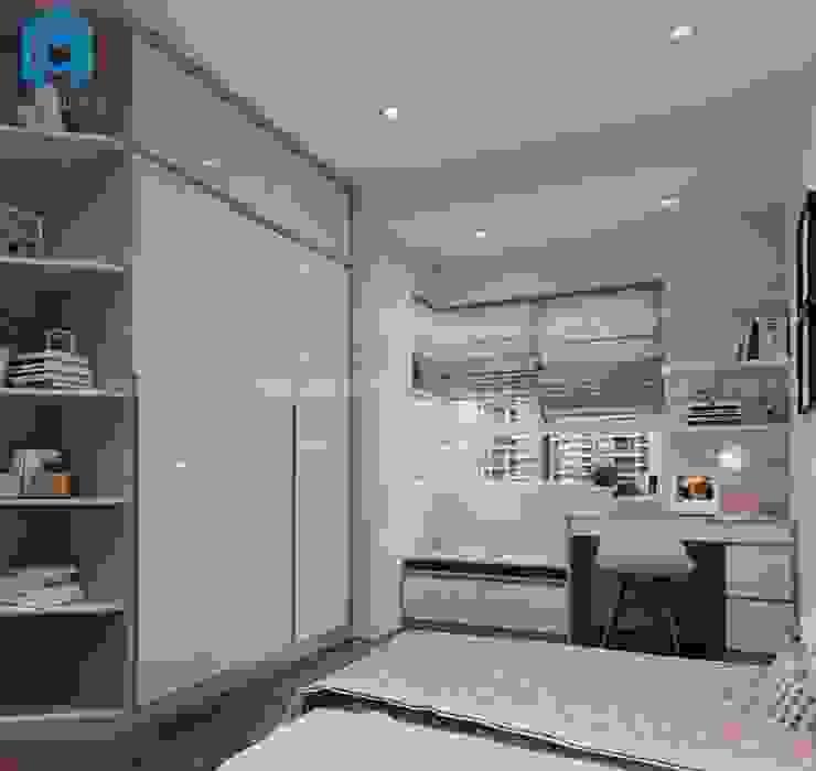 Phòng ngủ nhỏ dành cho bé gái với gam màu hồng khá nữ tính bởi Công ty TNHH Nội Thất Mạnh Hệ Hiện đại