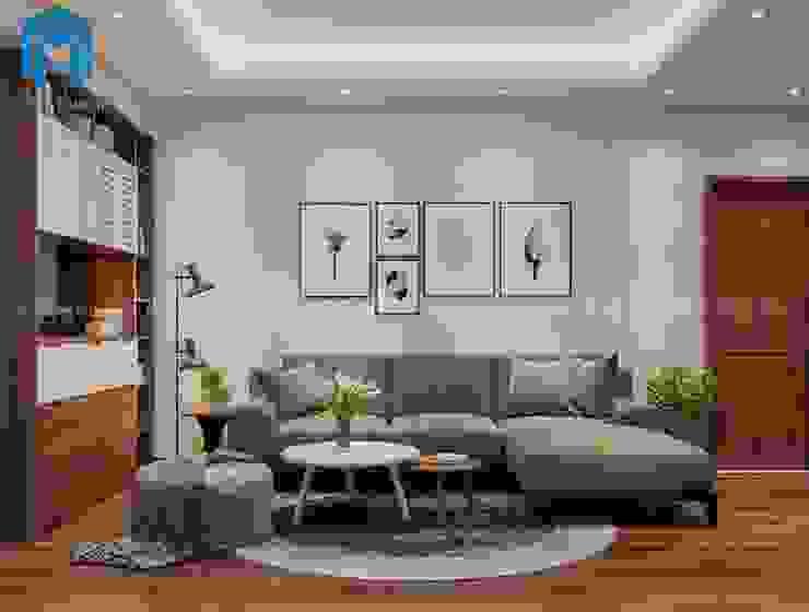Phòng khách khá trang nhã và lịch sự với bộ bàn ghế sofa nệm màu xám bởi Công ty TNHH Nội Thất Mạnh Hệ Hiện đại