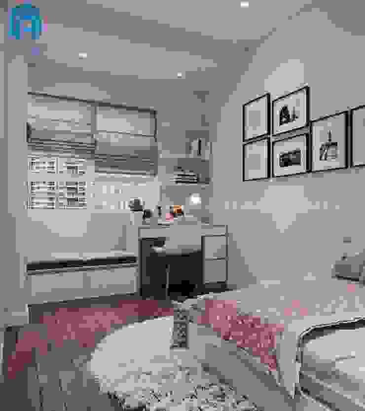 Phòng ngủ của bé gái được trang trí khá đơn giản bởi Công ty TNHH Nội Thất Mạnh Hệ Hiện đại