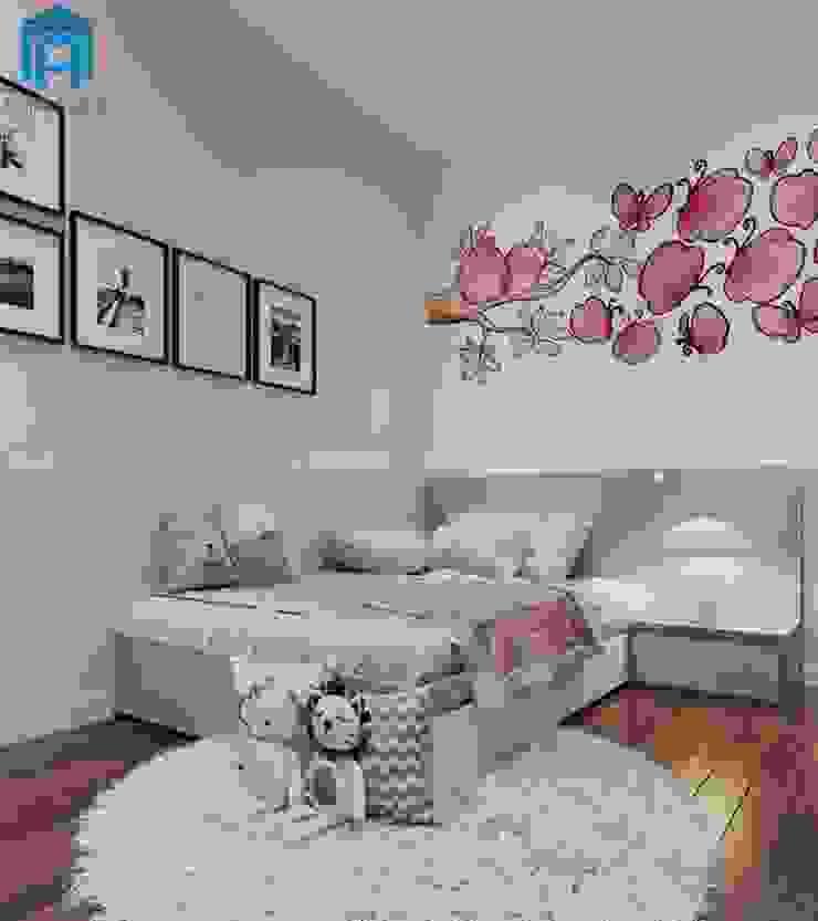 Phòng ngủ nhỏ cho bé được trang bị môt tấm thảm trải sàn bằng lông khá là ấm áp Phòng ngủ phong cách hiện đại bởi Công ty TNHH Nội Thất Mạnh Hệ Hiện đại