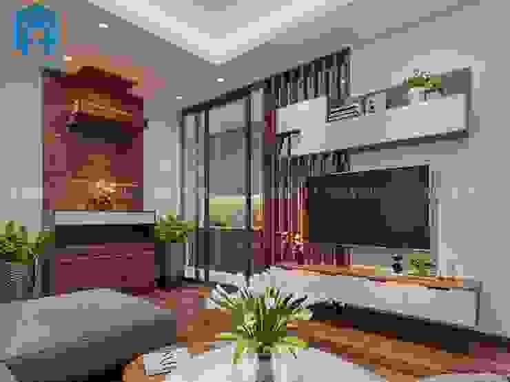 Phòng khách khá sang trọng và hiện đại bởi Công ty TNHH Nội Thất Mạnh Hệ Hiện đại
