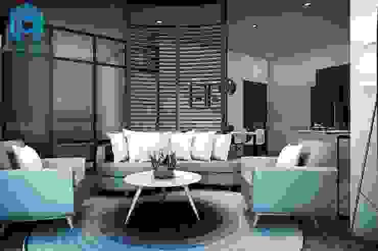 Phòng khách mang phong cách hiện đại đầy trẻ trung và sang trọng bởi Công ty TNHH Nội Thất Mạnh Hệ Hiện đại