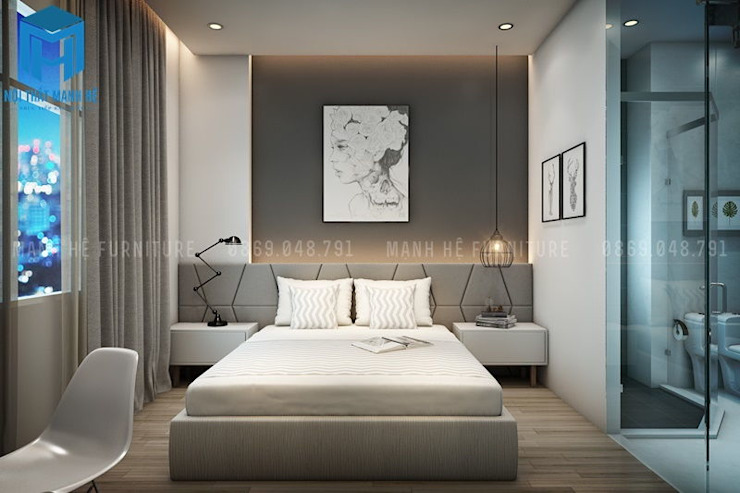 Phòng ngủ trầm ấm với tone màu xám ghi Phòng ngủ phong cách hiện đại bởi Công ty TNHH Nội Thất Mạnh Hệ Hiện đại