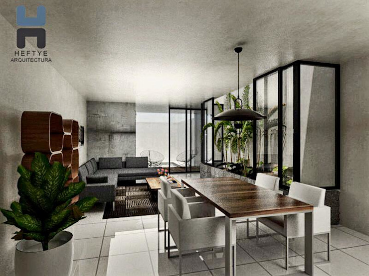 Proyecto de casa habitación diseñada en Mérida Salones modernos de Heftye Arquitectura Moderno Concreto
