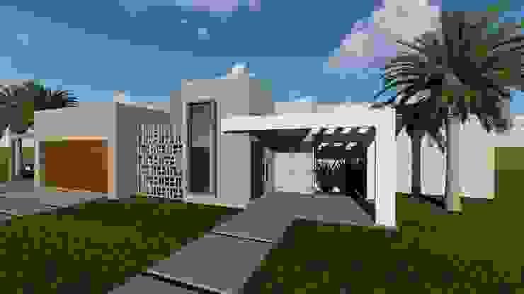 Fachada residencial Cláudia Legonde Casas familiares Concreto Cinza