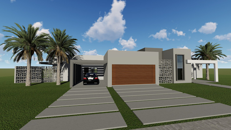 Fachada residencial Cláudia Legonde Casas familiares Concreto Bege