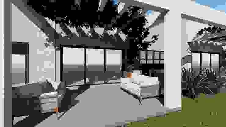 Varanda Cláudia Legonde Jardins de fachadas de casas Concreto Cinza