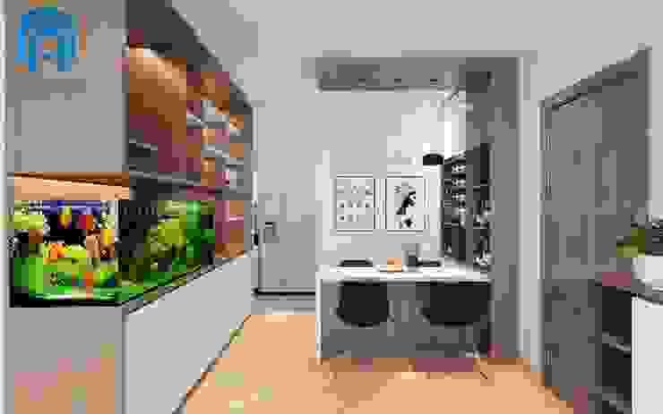 Phòng ăn thư giản cùng bể cá xinh xắn Phòng ăn phong cách hiện đại bởi Công ty TNHH Nội Thất Mạnh Hệ Hiện đại