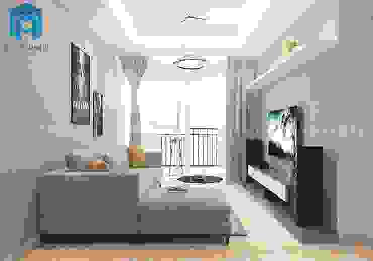 Không gian phòng khách của căn hộ rộng 120m2 bởi Công ty TNHH Nội Thất Mạnh Hệ Hiện đại