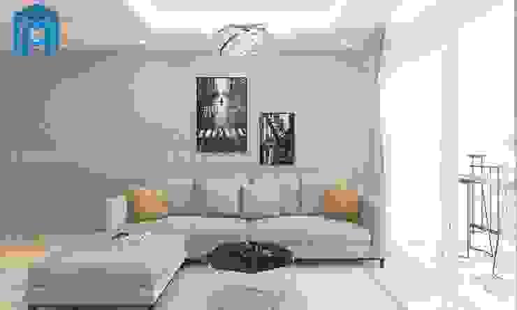 Bộ ghế sofa nệm khung gỗ màu xám khá sang trọng bởi Công ty TNHH Nội Thất Mạnh Hệ Hiện đại