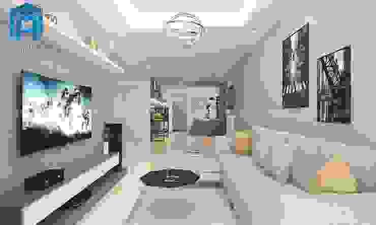 Toàn cảnh không gian phòng khách bởi Công ty TNHH Nội Thất Mạnh Hệ Hiện đại