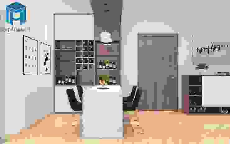 Không gian phòng ăn tinh tế và sang trọng với tủ rượu hiện đại Phòng ăn phong cách hiện đại bởi Công ty TNHH Nội Thất Mạnh Hệ Hiện đại