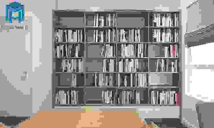 Tủ sách trong phòng ngủ tạo thêm không gian thư giản cho gia chủ Phòng ngủ phong cách hiện đại bởi Công ty TNHH Nội Thất Mạnh Hệ Hiện đại
