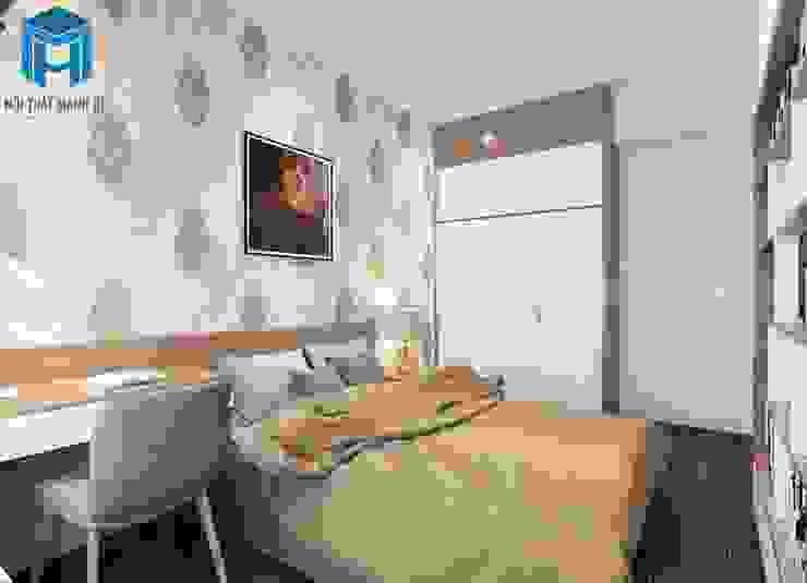 Nội thất phòng ngủ có thêm tủ sách bởi Công ty TNHH Nội Thất Mạnh Hệ Hiện đại
