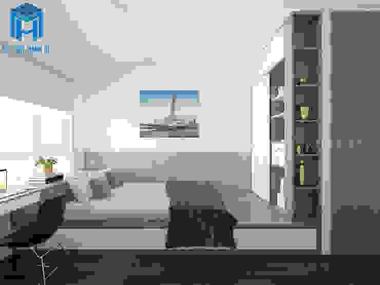 Không gian phòng ngủ hút ánh sáng nhờ có hệ thống cửa sổ khá rộng Phòng ngủ phong cách hiện đại bởi Công ty TNHH Nội Thất Mạnh Hệ Hiện đại