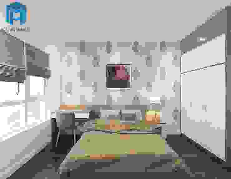 Phòng ngủ với gam màu trầm ấm bởi Công ty TNHH Nội Thất Mạnh Hệ Hiện đại