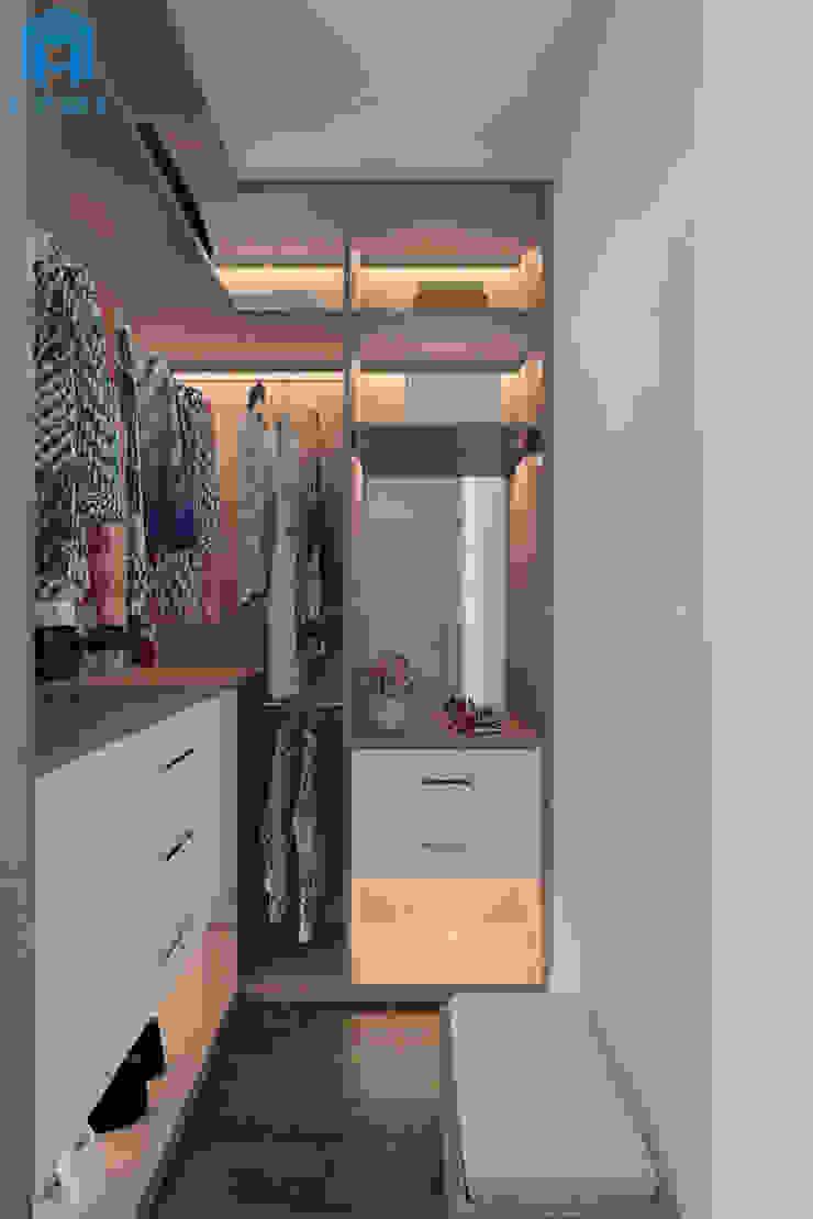 Tủ quần áo với nhiều ngăn nhỏ có thể chứa được khá nhiều đồ Phòng ngủ phong cách hiện đại bởi Công ty TNHH Nội Thất Mạnh Hệ Hiện đại