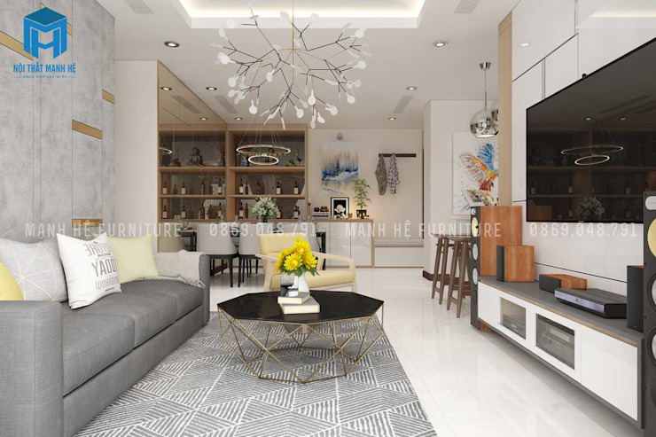 Nội thất phòng khách hiện đại và sang trọng bởi Công ty TNHH Nội Thất Mạnh Hệ Hiện đại