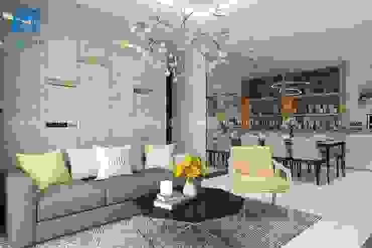 Thiết kế không gian phòng khách trang trọng và sang chảnh bởi Công ty TNHH Nội Thất Mạnh Hệ Hiện đại