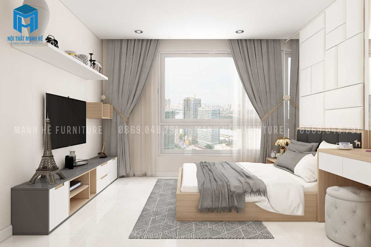 Rèm cửa màu xám giúp cản ánh sáng cho căn phòng Phòng ngủ phong cách hiện đại bởi Công ty TNHH Nội Thất Mạnh Hệ Hiện đại