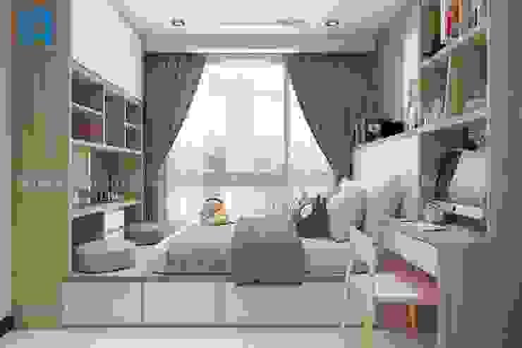 Tủ gỗ làm kệ sách ở hai đầu giường khá tiện ích Phòng ngủ phong cách hiện đại bởi Công ty TNHH Nội Thất Mạnh Hệ Hiện đại