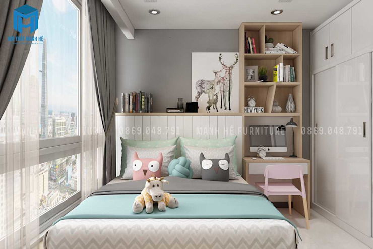 Trang trí phòng của bé bằng thú bông trông thật ngộ nghĩnh Phòng ngủ phong cách hiện đại bởi Công ty TNHH Nội Thất Mạnh Hệ Hiện đại