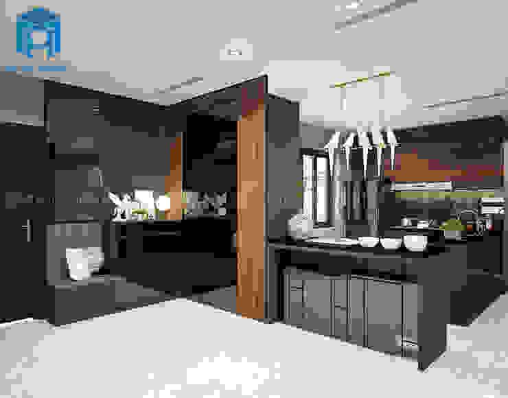 Thiết kế nội thất phòng bếp nối từ phòng khách Phòng ăn phong cách hiện đại bởi Công ty TNHH Nội Thất Mạnh Hệ Hiện đại