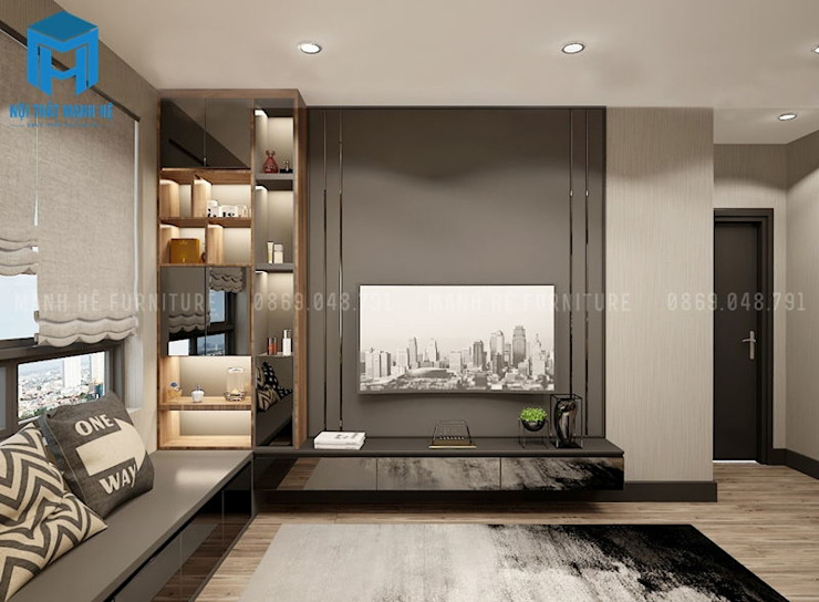 Phòng ngủ được trang trí bằng tranh treo tường khá hiện đại Phòng ngủ phong cách hiện đại bởi Công ty TNHH Nội Thất Mạnh Hệ Hiện đại