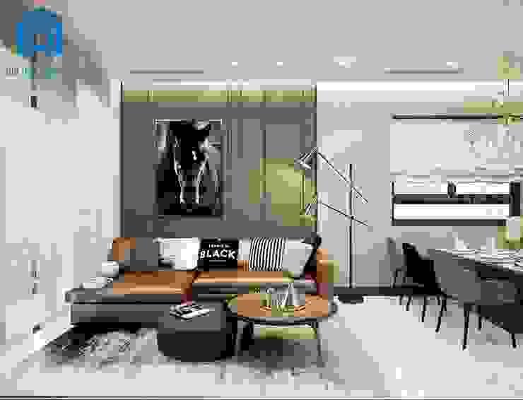 Nội thất phòng khách được thiết kế khá đơn giản nhưng vẫn mang lại tính đẳng cấp cho căn nhà bởi Công ty TNHH Nội Thất Mạnh Hệ Hiện đại