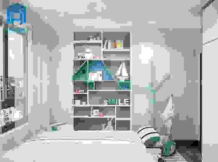 Phòng ngủ dành cho các bé co thêm kệ sách với nhiều ngăn nhỏ rất tiện dụng Phòng ngủ phong cách hiện đại bởi Công ty TNHH Nội Thất Mạnh Hệ Hiện đại
