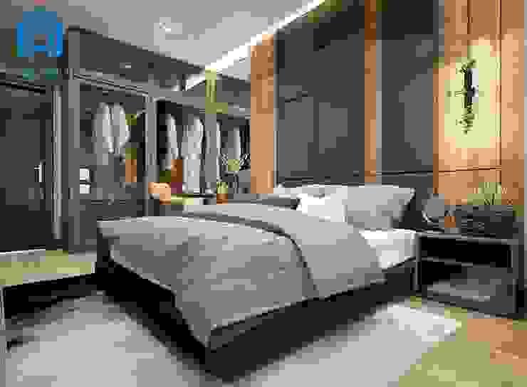 Phòng ngủ có thêm tủ đồ cửa gương rất sang trọng và đẳng cấp Phòng ngủ phong cách hiện đại bởi Công ty TNHH Nội Thất Mạnh Hệ Hiện đại