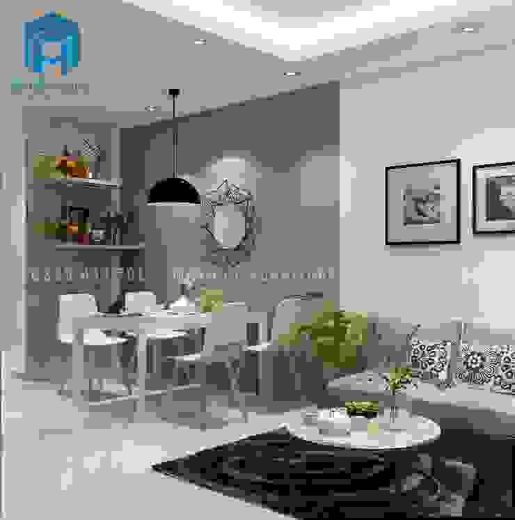 Một tấm thảm đen được đặt tại phòng khách tạo cho không gian của phòng khách trở nên hiện đại và sang trọng bởi Công ty TNHH Nội Thất Mạnh Hệ Hiện đại