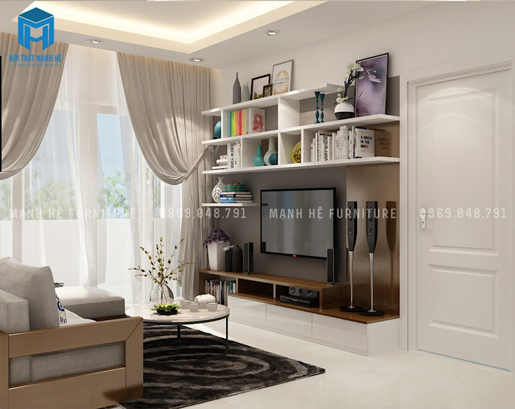 Phòng khách tinh tế với tone màu trắng chủ đạo bởi Công ty TNHH Nội Thất Mạnh Hệ Hiện đại