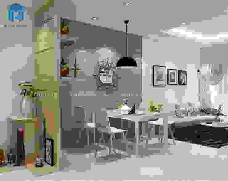 Nội thất phòng bếp và phòng khách liền kề nhau Phòng ăn phong cách hiện đại bởi Công ty TNHH Nội Thất Mạnh Hệ Hiện đại