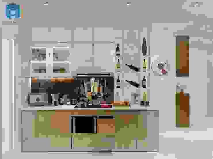 Trang trí phòng bếp với các ô tủ Phòng ăn phong cách hiện đại bởi Công ty TNHH Nội Thất Mạnh Hệ Hiện đại