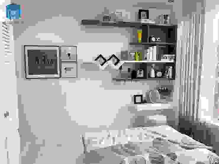 Phòng ngủ được trang trí với các ô tủ kệ nhỏ xinh Phòng ngủ phong cách hiện đại bởi Công ty TNHH Nội Thất Mạnh Hệ Hiện đại
