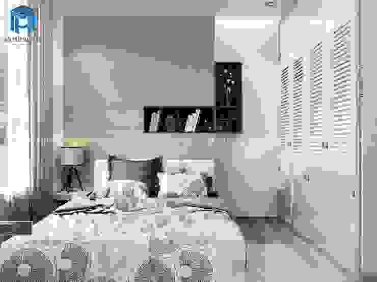 Phòng ngủ với tone màu chủ đạo trắng sáng khá sang trọng và tinh tế Phòng ngủ phong cách hiện đại bởi Công ty TNHH Nội Thất Mạnh Hệ Hiện đại